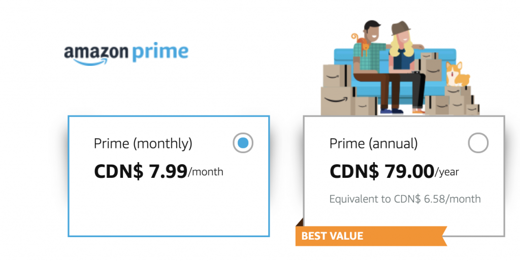 amazon prime pricing plans in canada