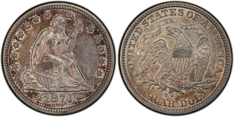 1873-CC Liberty Seated Quarter