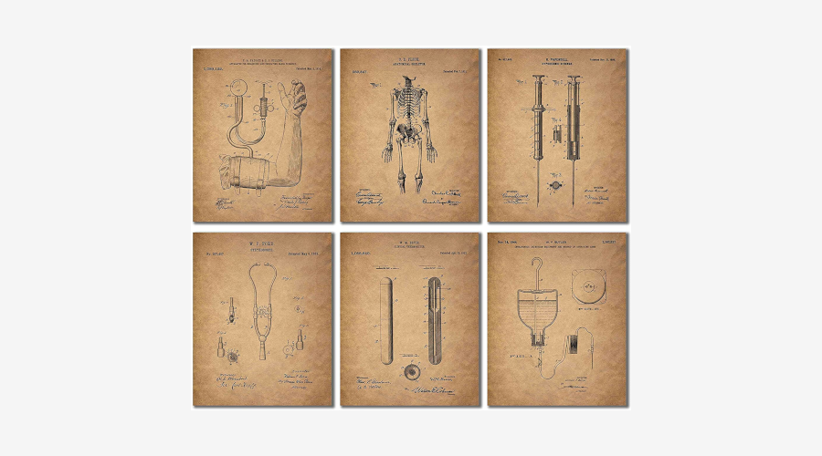 Vintage Medical Patents Wall Art