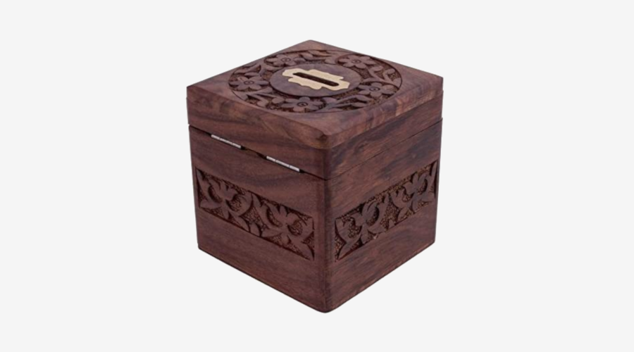 WhooperIndia Wooden Chest Piggy Bank