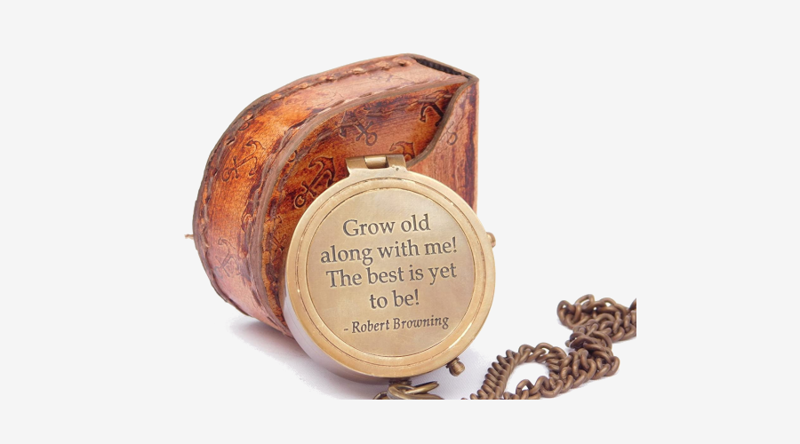 Grow Old with Me Engraved Brass Compass